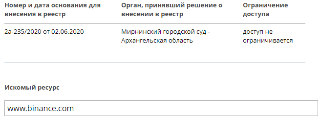 Решение о блокировке биржи Binance в России отменено