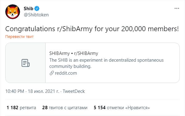 Сабреддит Shiba Inu расширился до 200 000 пользователей