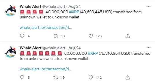 С Coinbase перевели 256 миллионов XRP